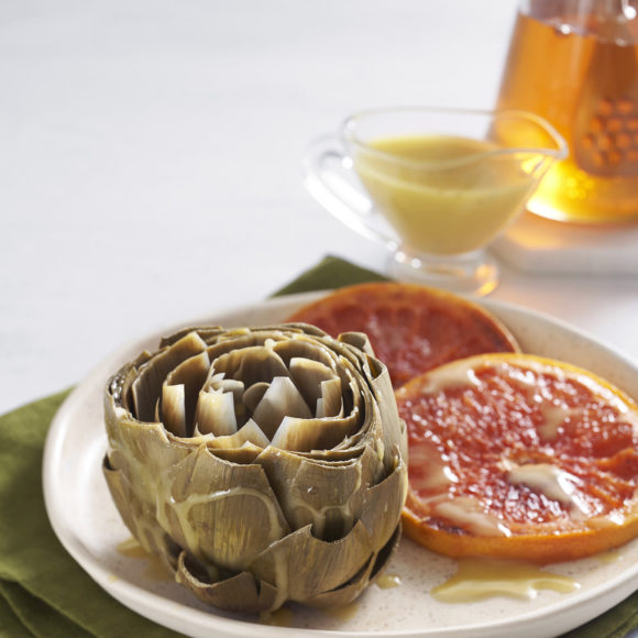 Steamed Artichokes with Honeyed Grapefruit & White Balsamic Honey Dressing