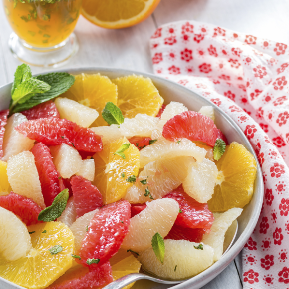 Citrus Fruit Salad with Honey Mint Lime Syrup
