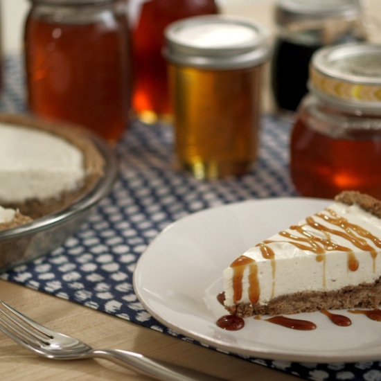 Vanilla bean cheesecake pie with home style honey crust